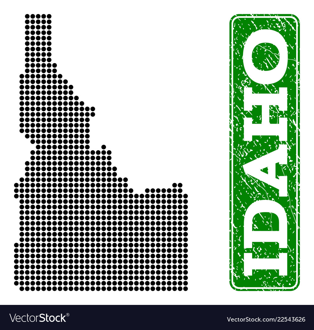 Dotted map of idaho state and grunge rectangle Vector Image