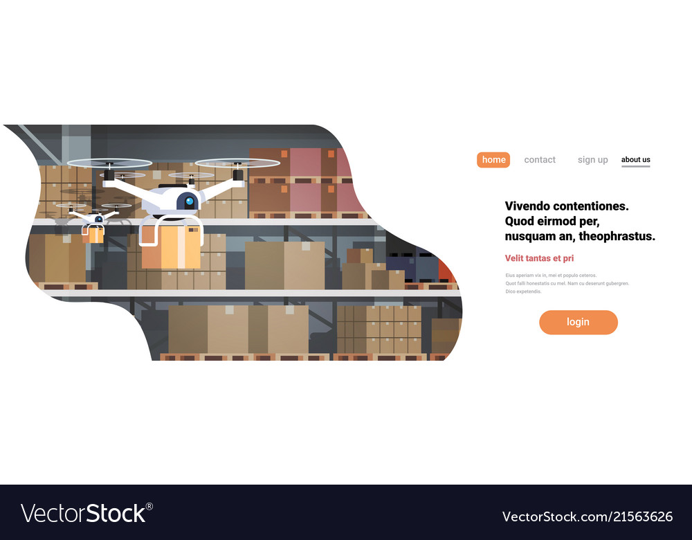 Drone working modern warehouse interior advanced Vector Image