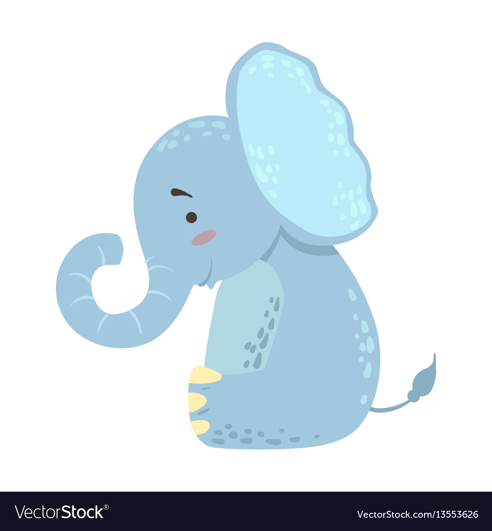 Elephant cute toy animal with detailed elements vector image