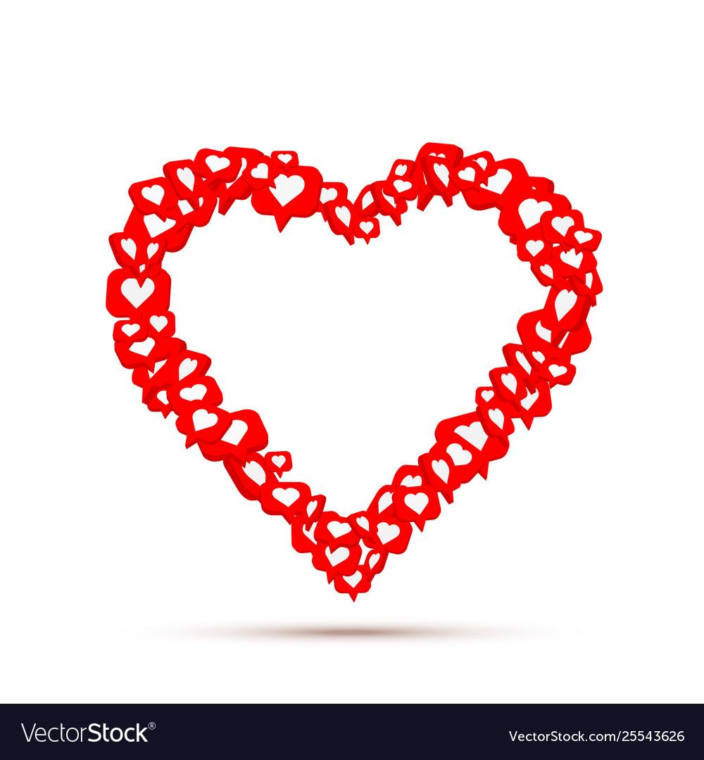 Frame heart fly like social network white