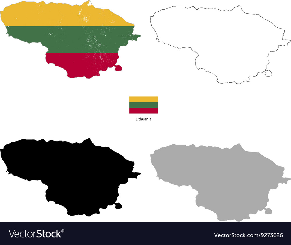 Lithuania country black silhouette and with flag