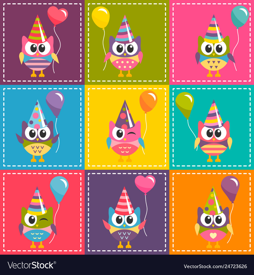 Patchwork background with colorful owls with