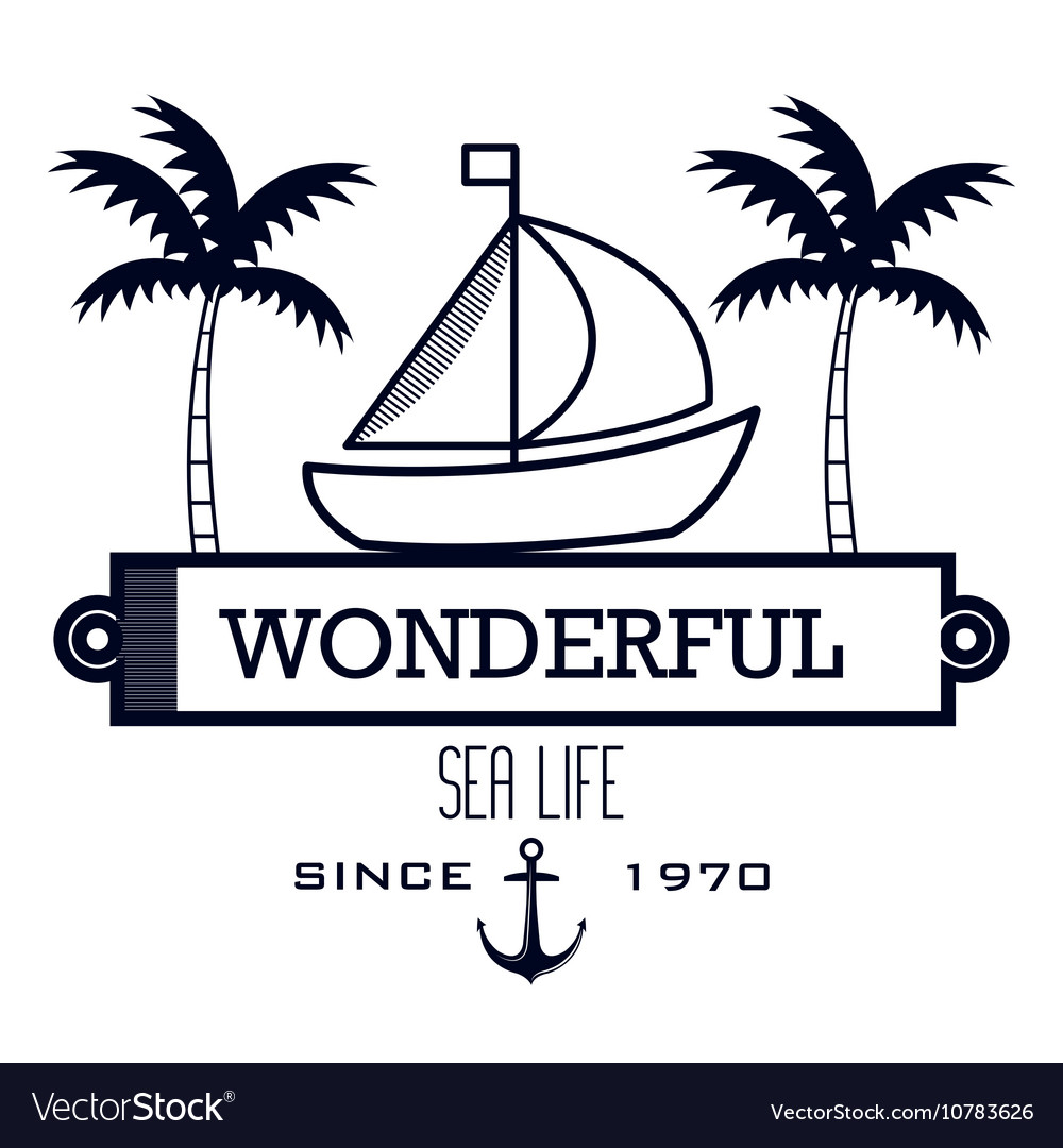 Sailing icon sea life design vector image