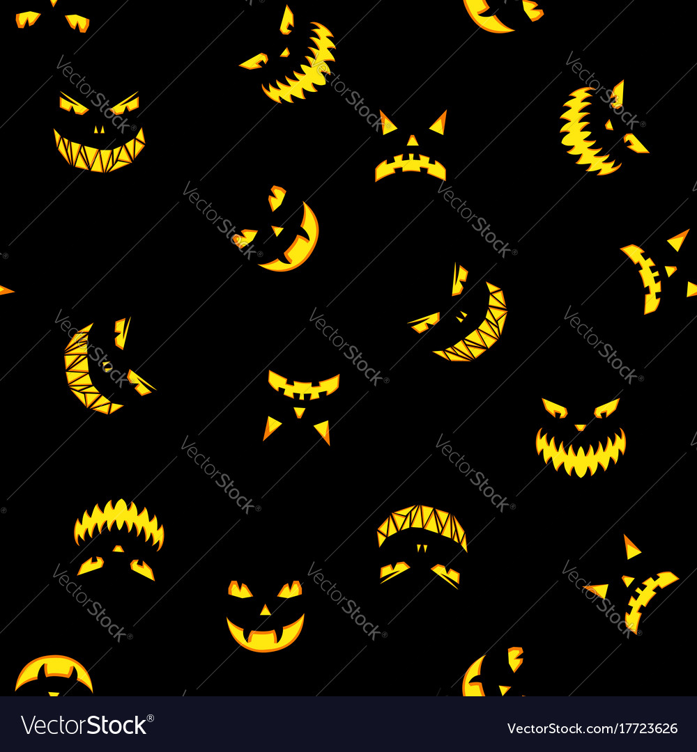 Seamless pattern with halloween pumpkins carved