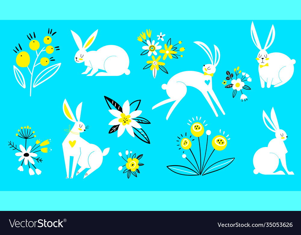 Set hares in a flat style white rabbits on a