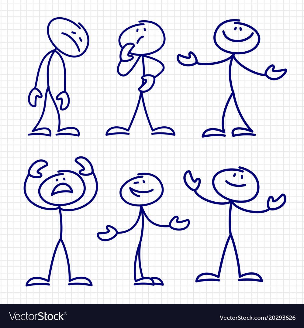 Simple hand drawn stick figures set
