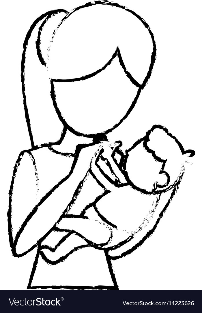 Sketch mother and her baby holding