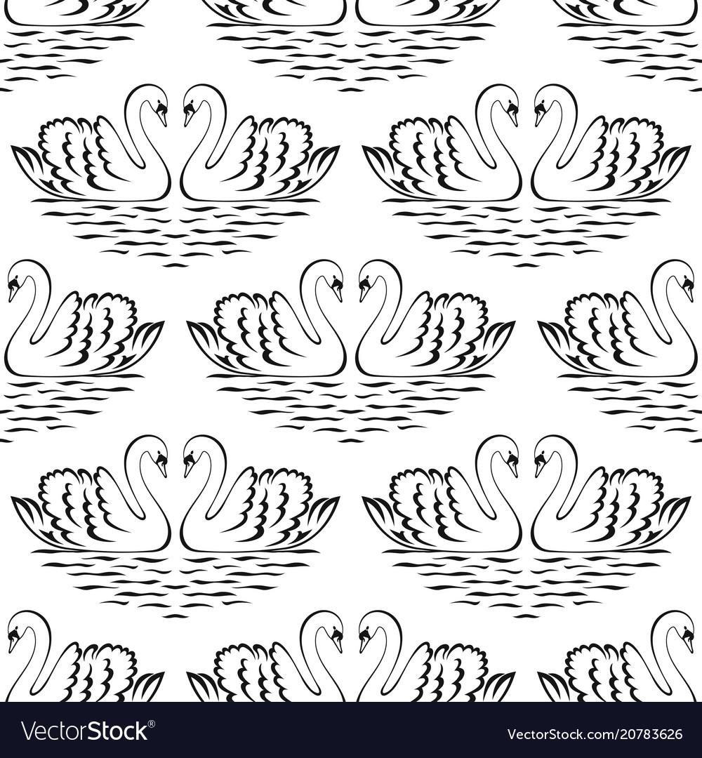 Swan pair seamless pattern