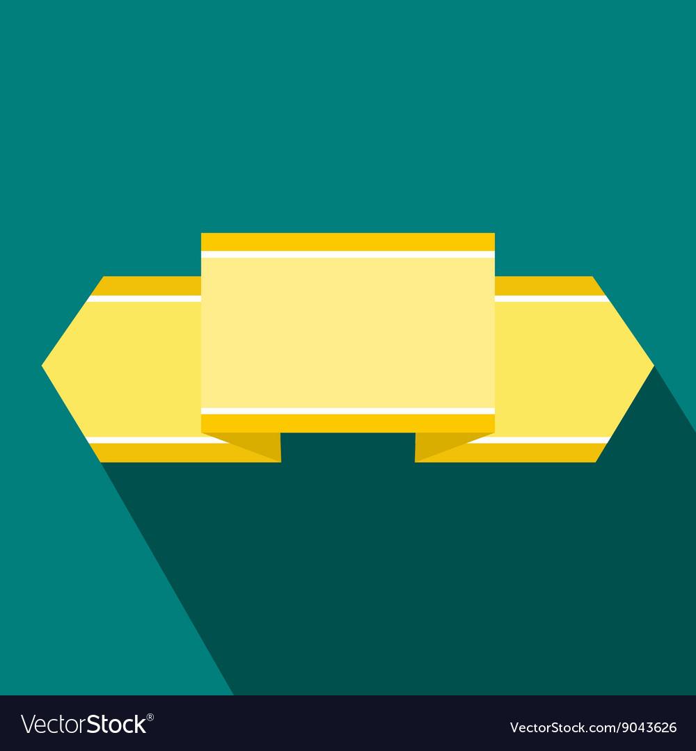 Yellow ribbon icon flat style vector image