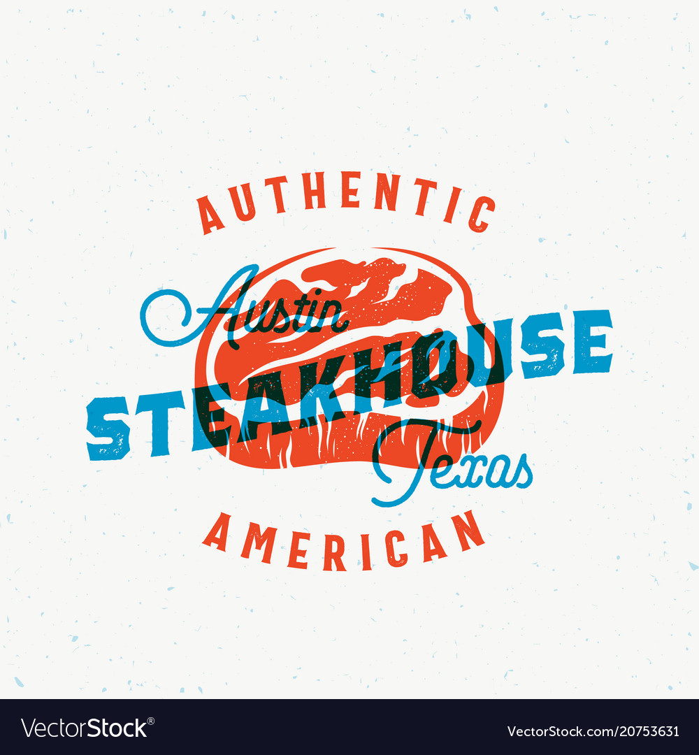 American steakhouse vintage label card
