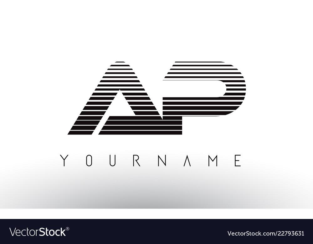 Ap black and white horizontal stripes letter logo