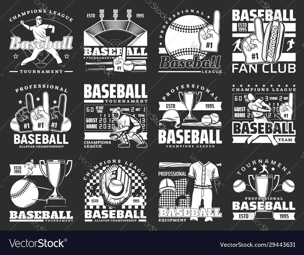 Baseball players with bats balls and trophy cups