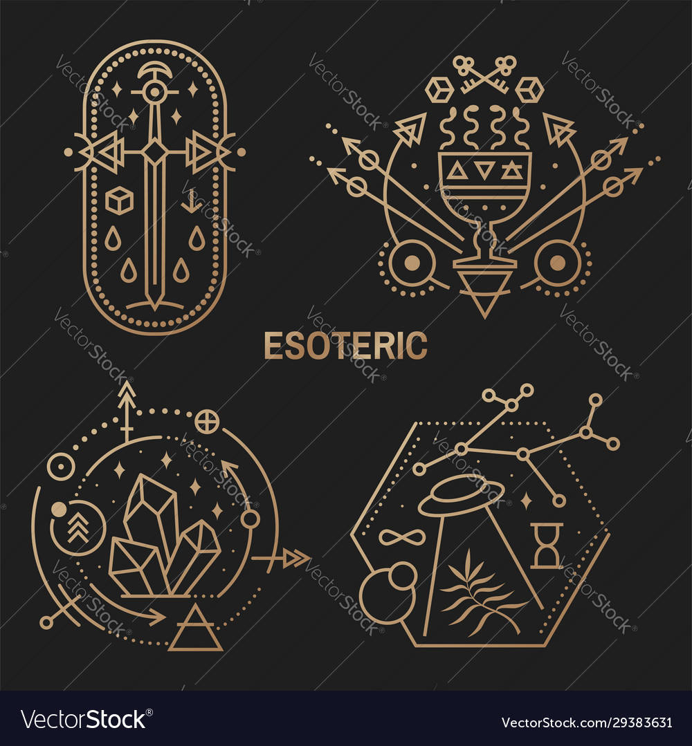 Gold esoteric symbols thin line geometric badge