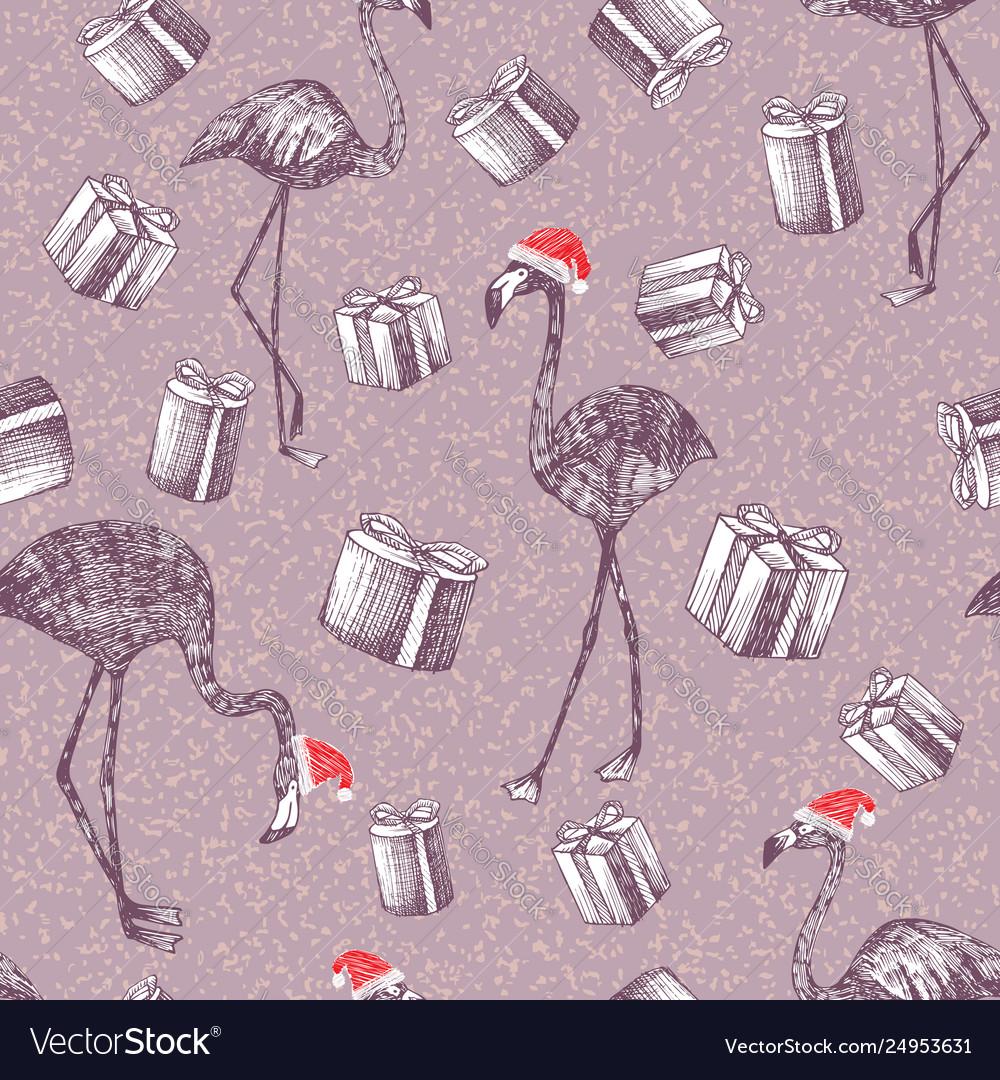 Hand drawn christmas flamingo and gifts