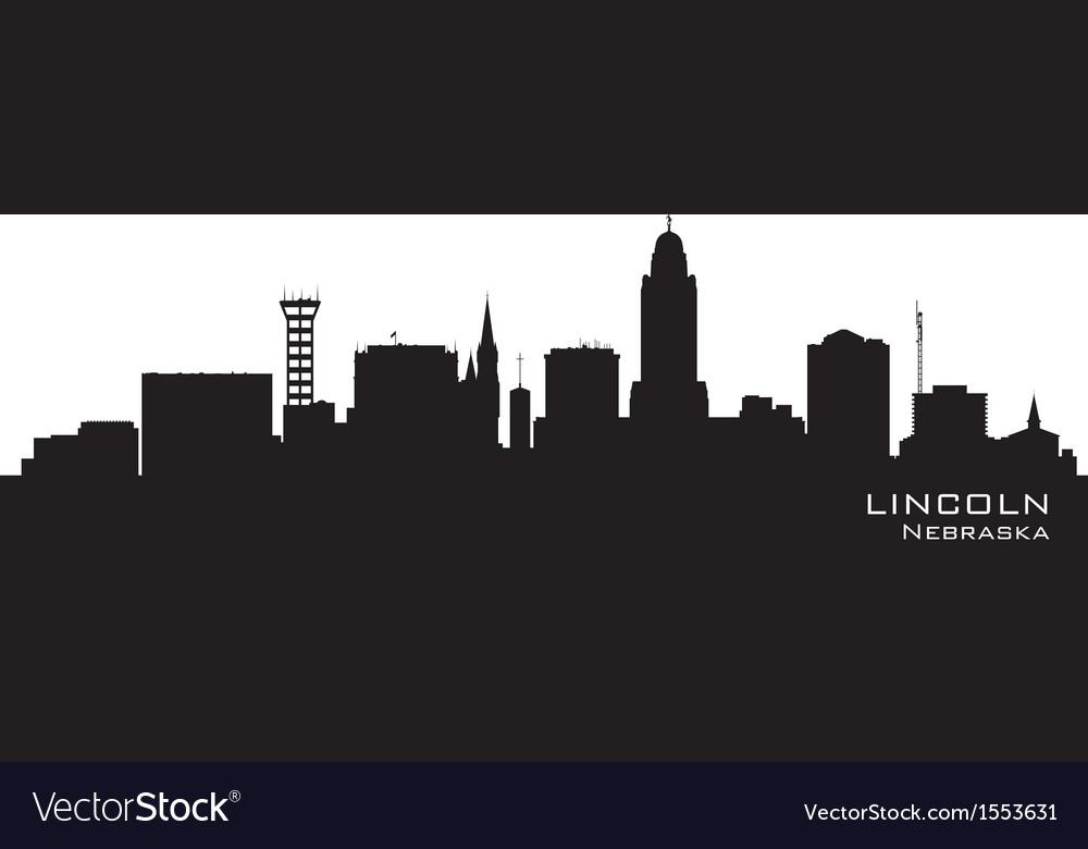 Lincoln Nebraska skyline Detailed silhouette vector image
