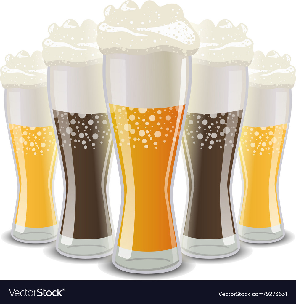 Many glasses of light and dark beer with foam on