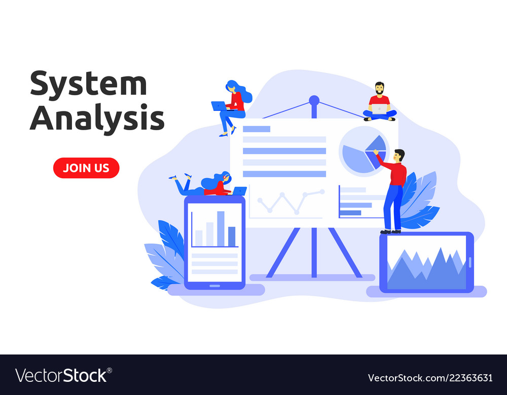Modern Flat Design Concept For System Analysis Vector Image