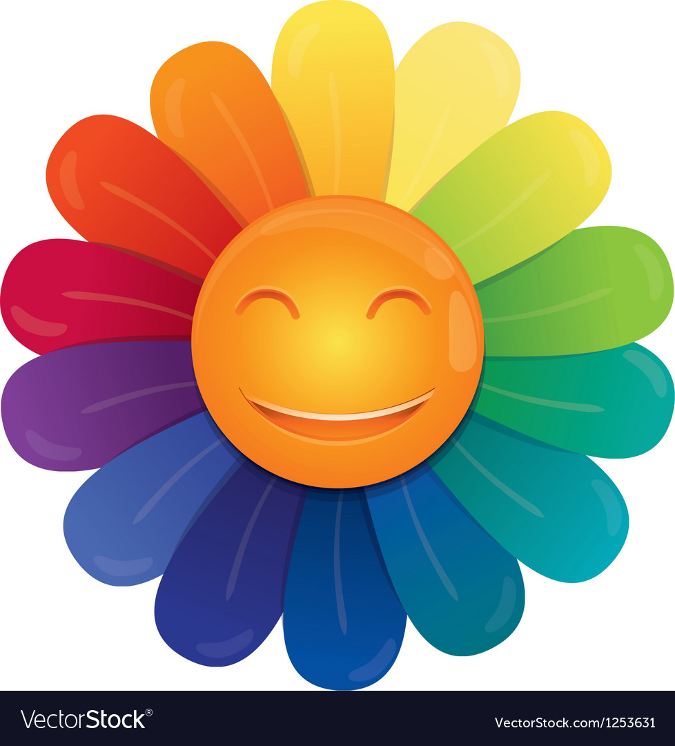 Rainbow flower vector image