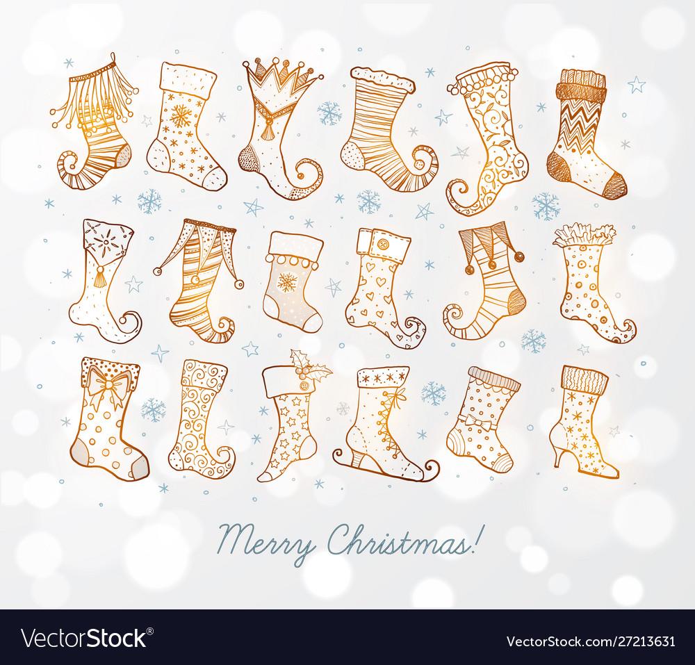 Set doodle sketch christmas socks on white