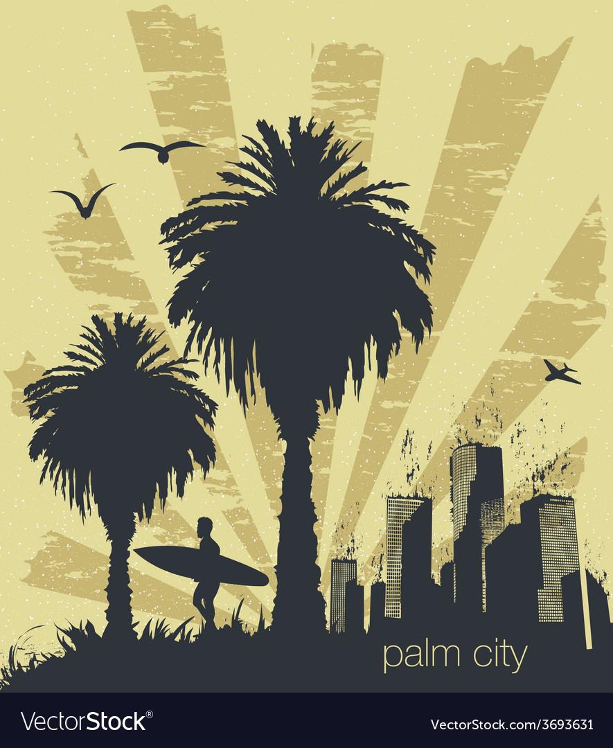 Sunny beach with palm