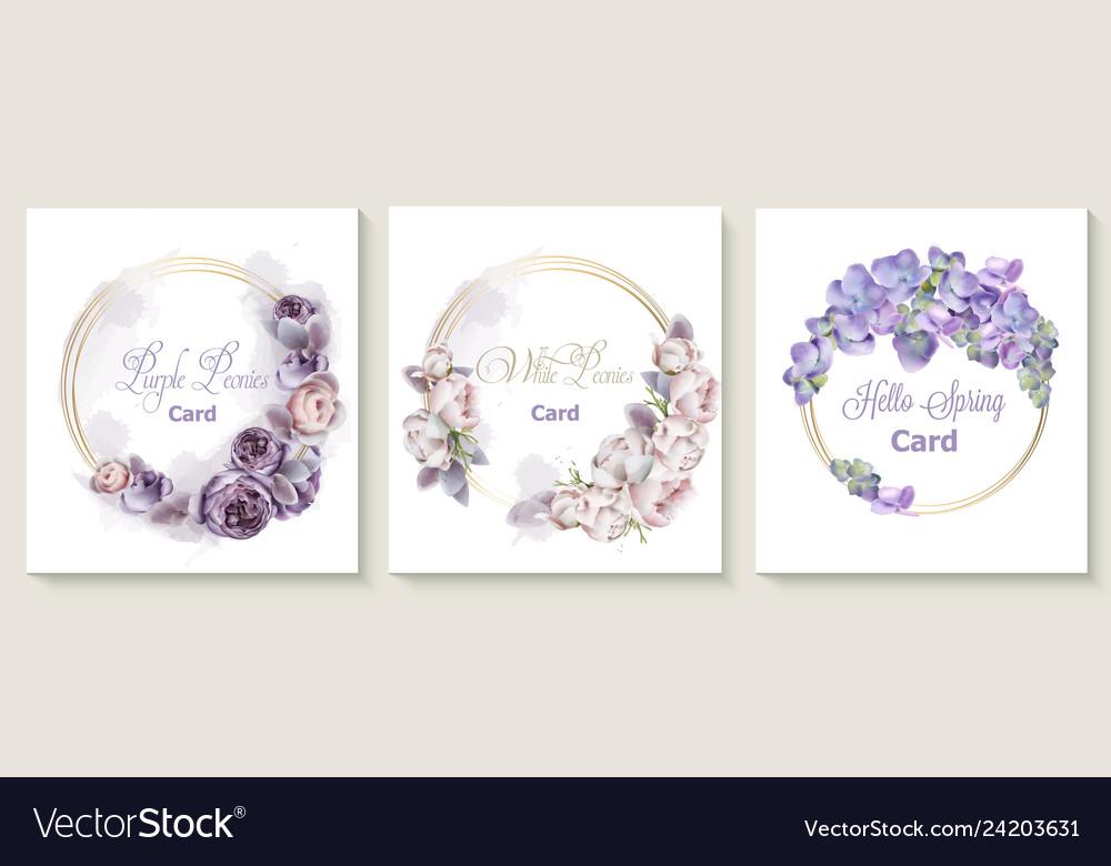 Wedding Invitation Card Set With Purple Peony