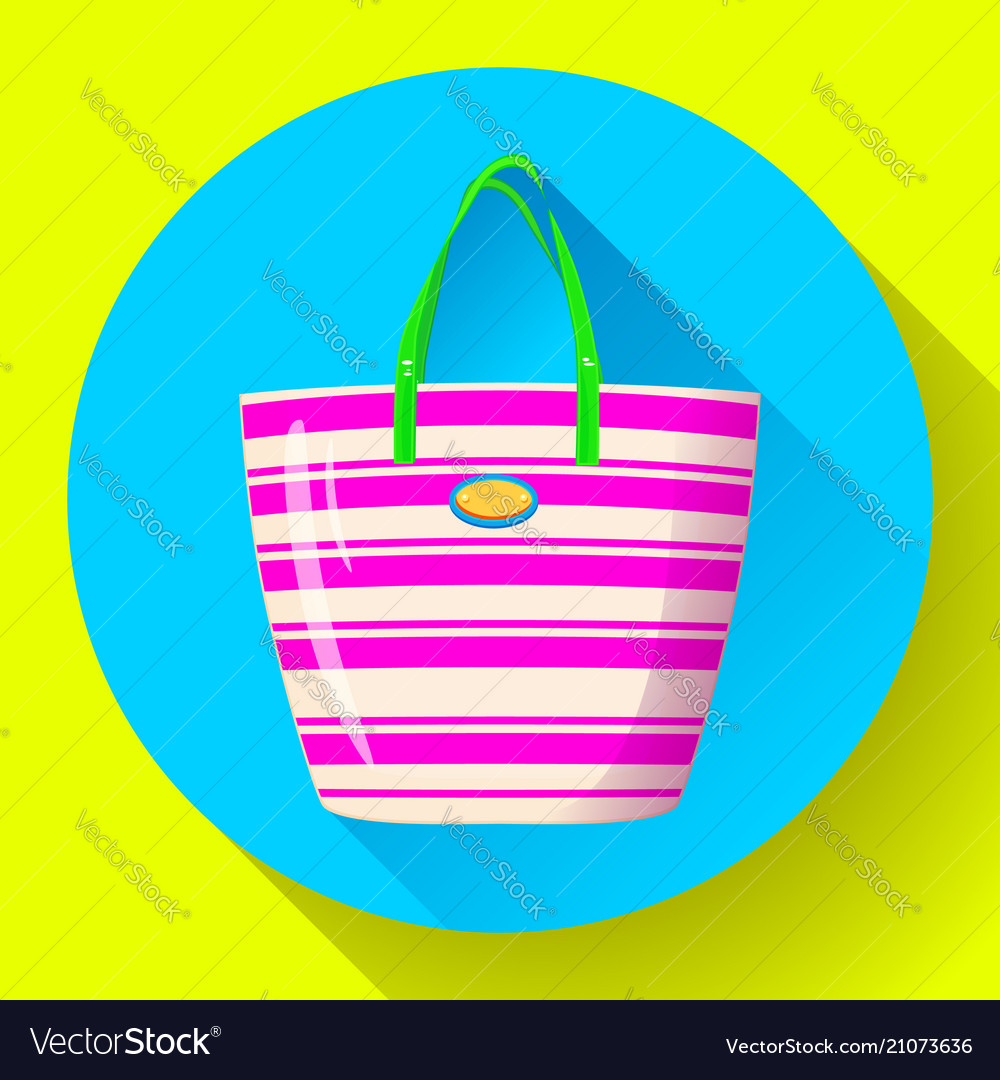 Beach bag icon flat isolated on white background
