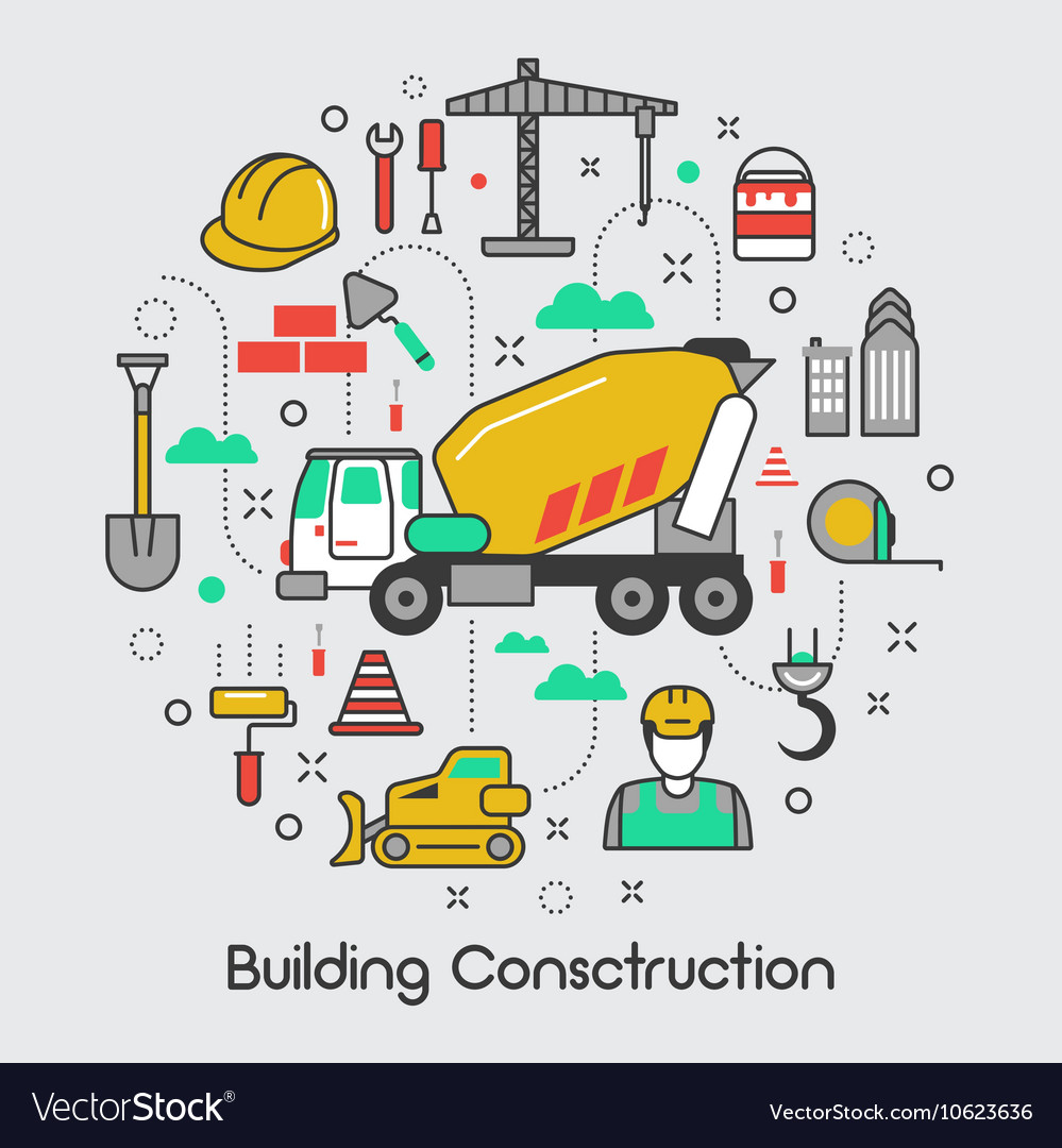 Building Construction Thin Line Art Icons Set