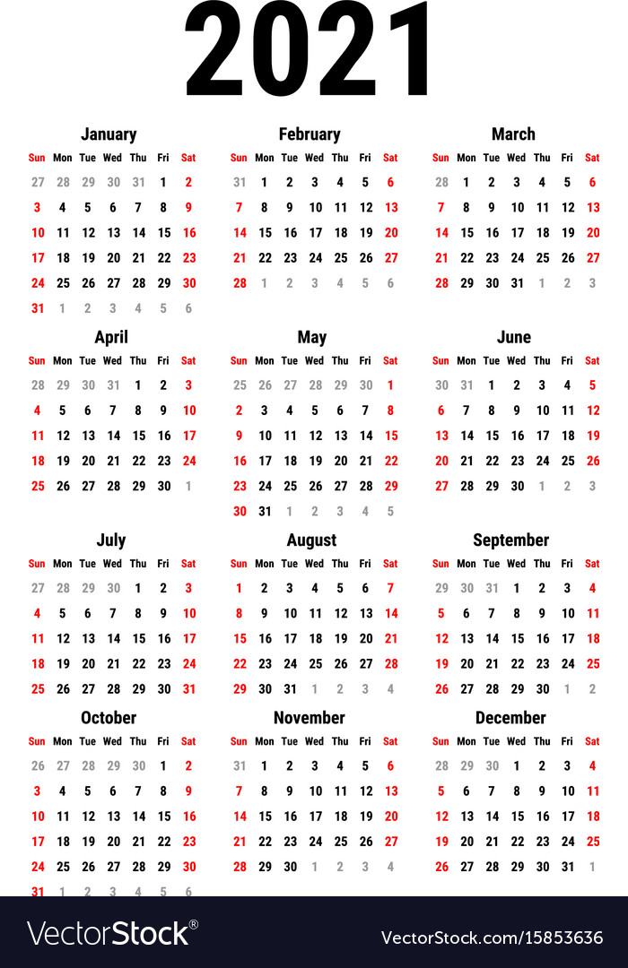 Calendar Of 2021 Calendar for 2021 Royalty Free Vector Image   VectorStock