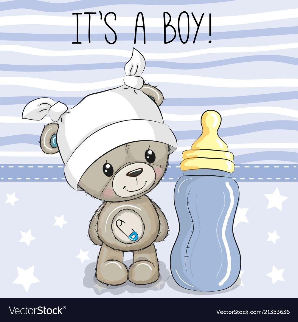 Cartoon Teddy Bear With Feeding Bottle Royalty Free Vector