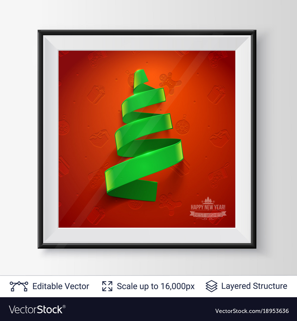 Christmas tree shape of green ribbon in a frame