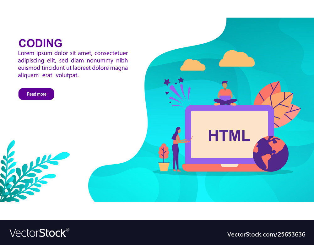 Coding concept with character template for banner