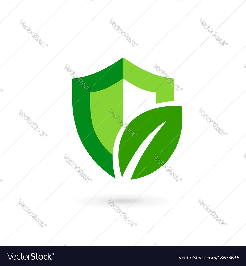 eco leaves shield logo icon design template vector image rh vectorstock com