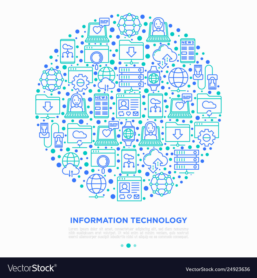 Information technology in circle thin line icons