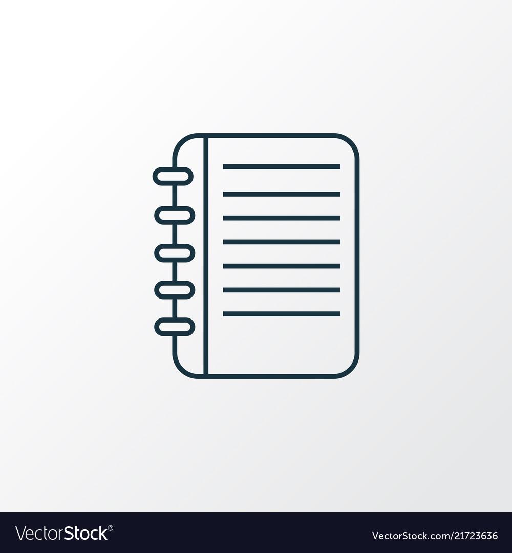 Notepad icon line symbol premium quality isolated
