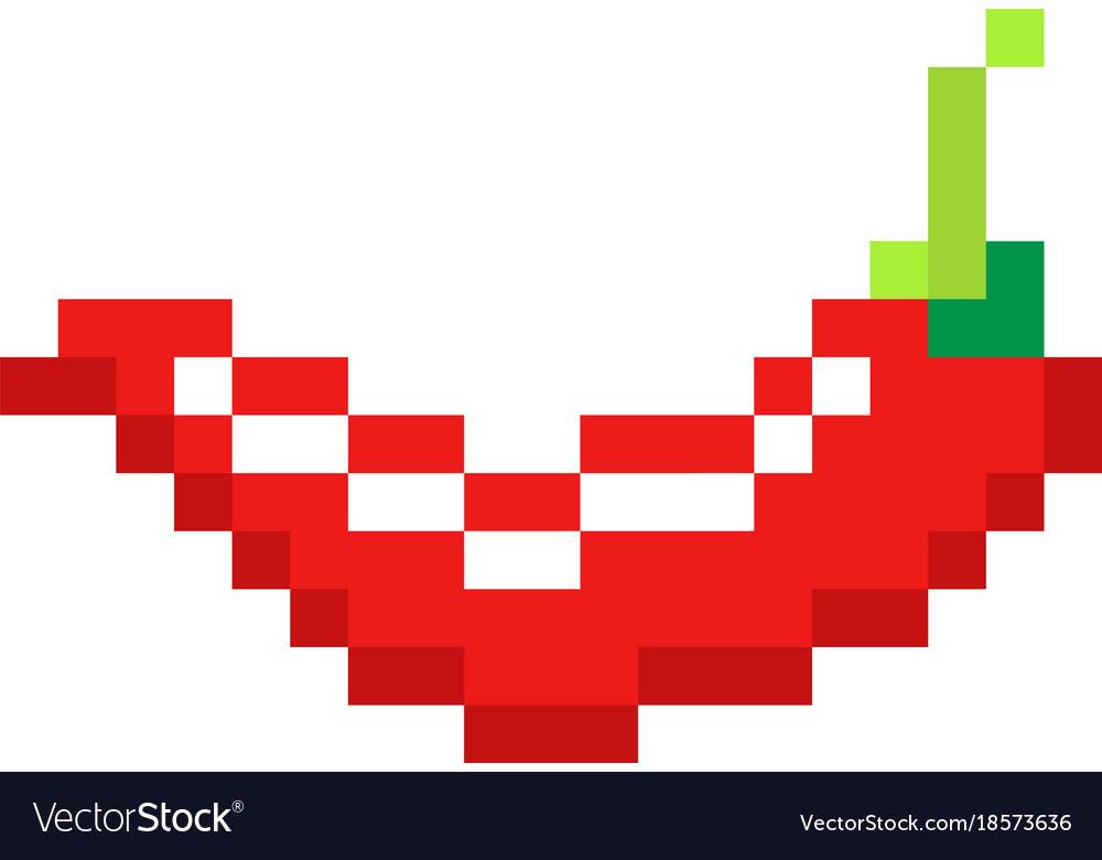Pixel red hot pepper art cartoon retro game style