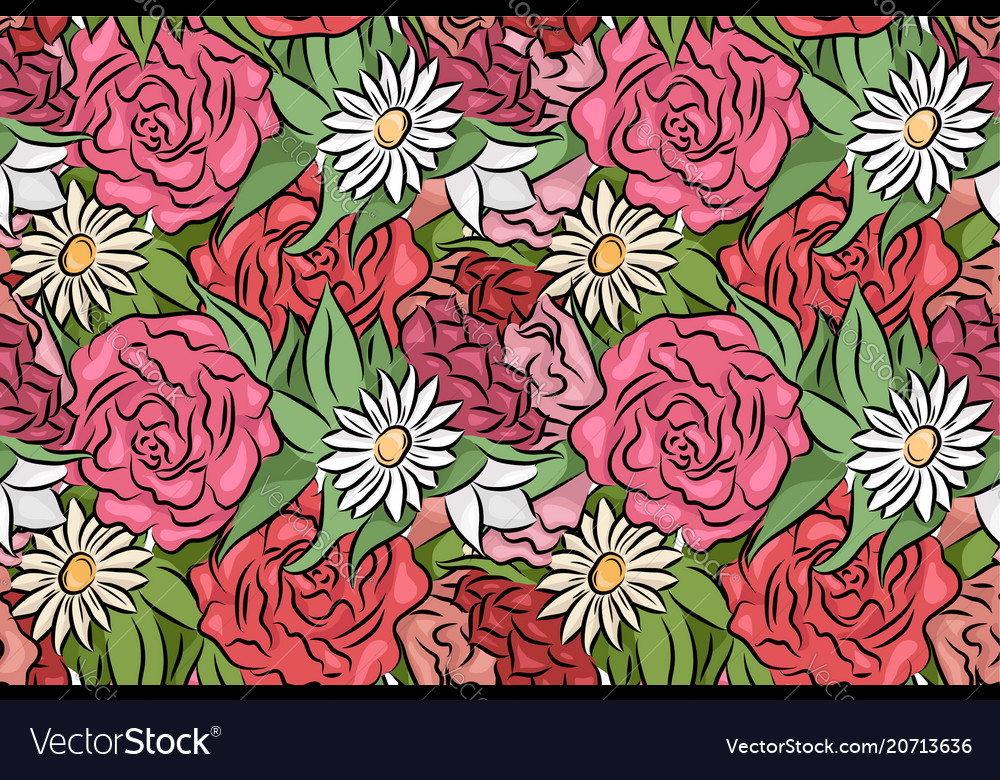 Seamless texture with hand drawn flowers and