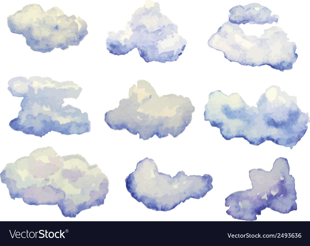 set of watercolor clouds isolated on white vector image vectorstock