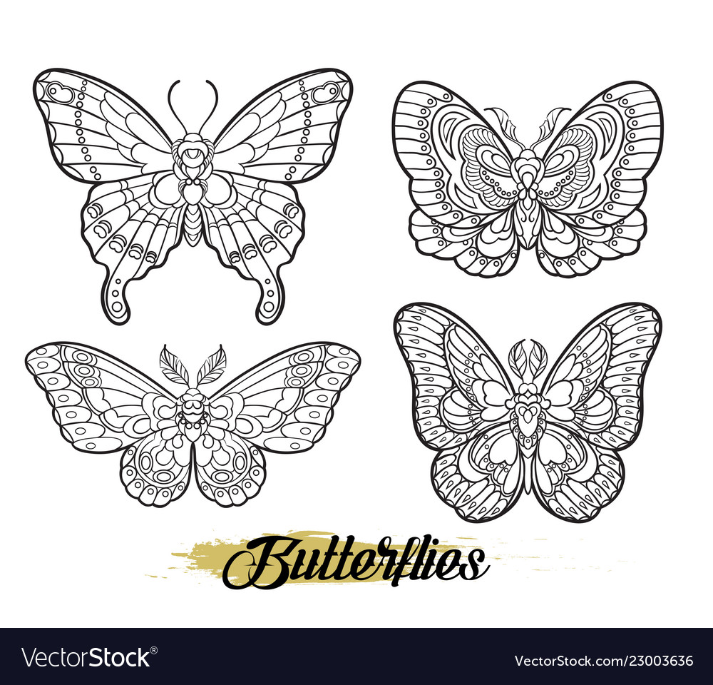 Stylised butterflies isolated on white background