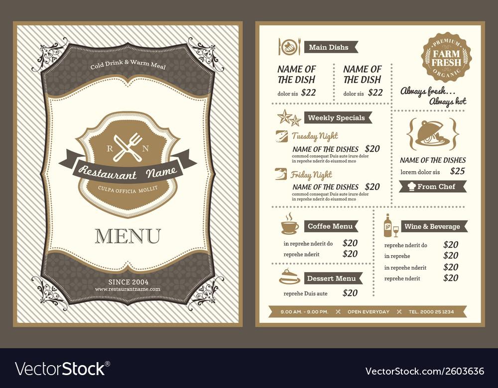 Vintage Frame restaurant menu design vector image