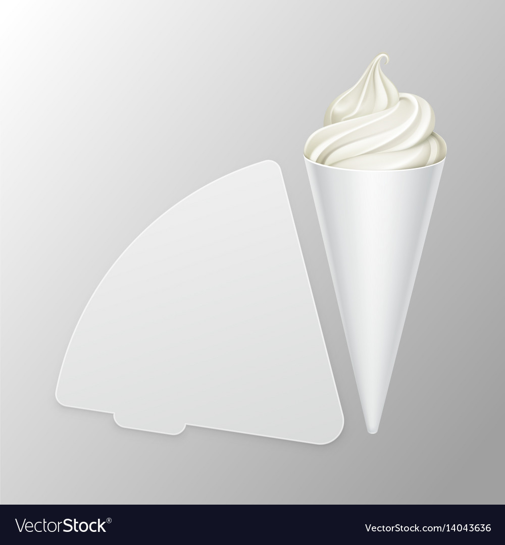 Vwhite soft ice cream waffle cone in carton foil vector image