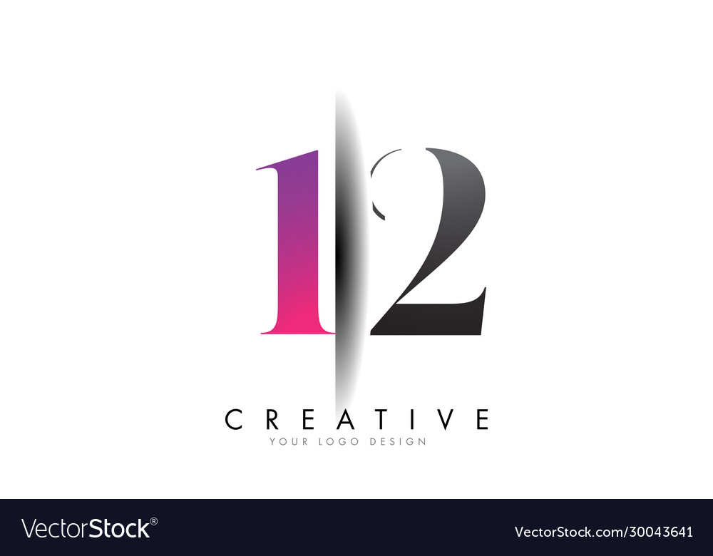 12 1 2 number logo with creative shadow cut design