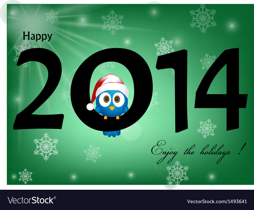 2014 celebration background with funny blue bird
