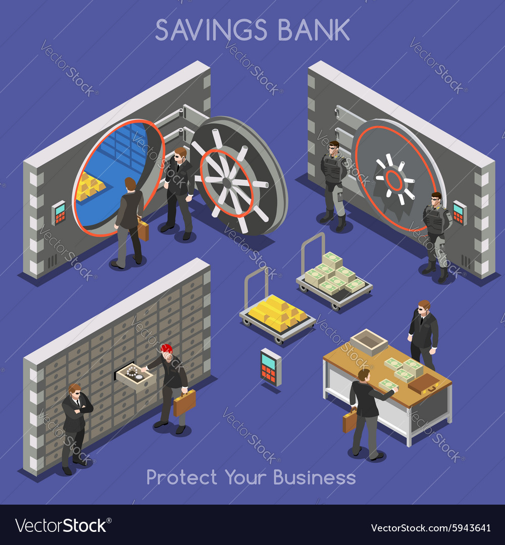 Bank Office 01 People Isometric Bank Office 02 vector image