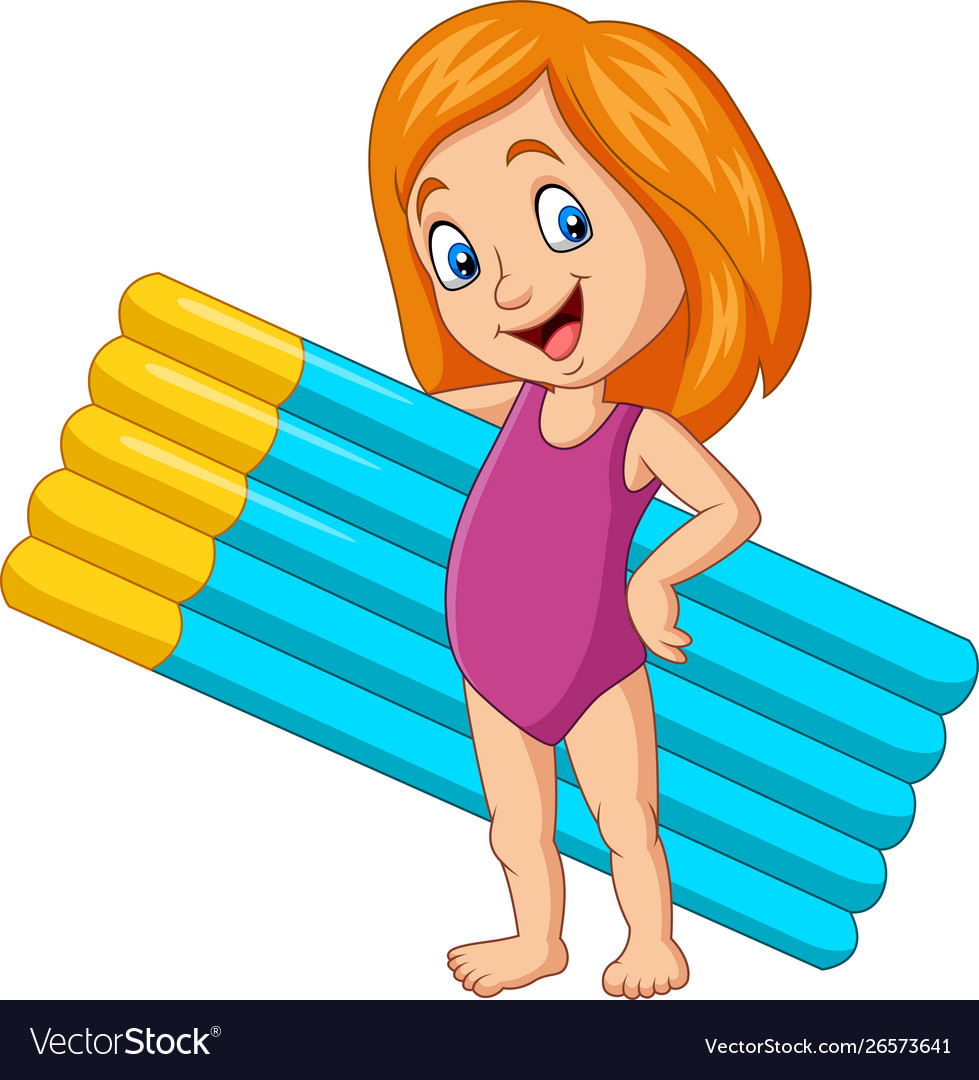 Cartoon girl in a swimsuit holding mattress