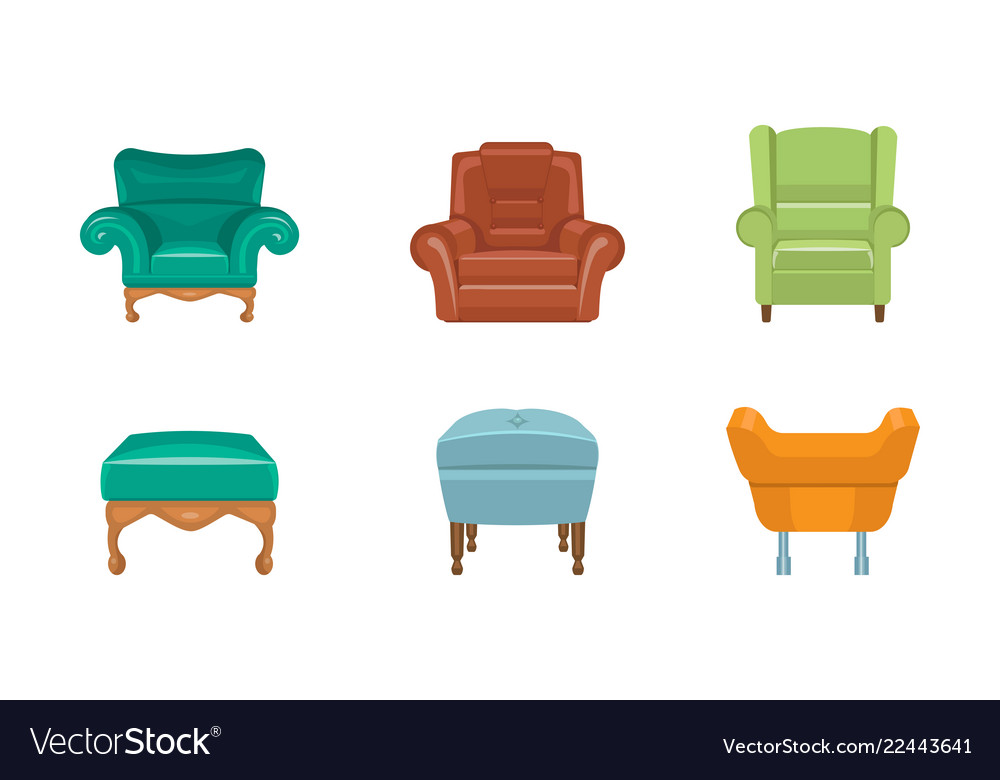 chairs and armchairs set colorful fortable vector