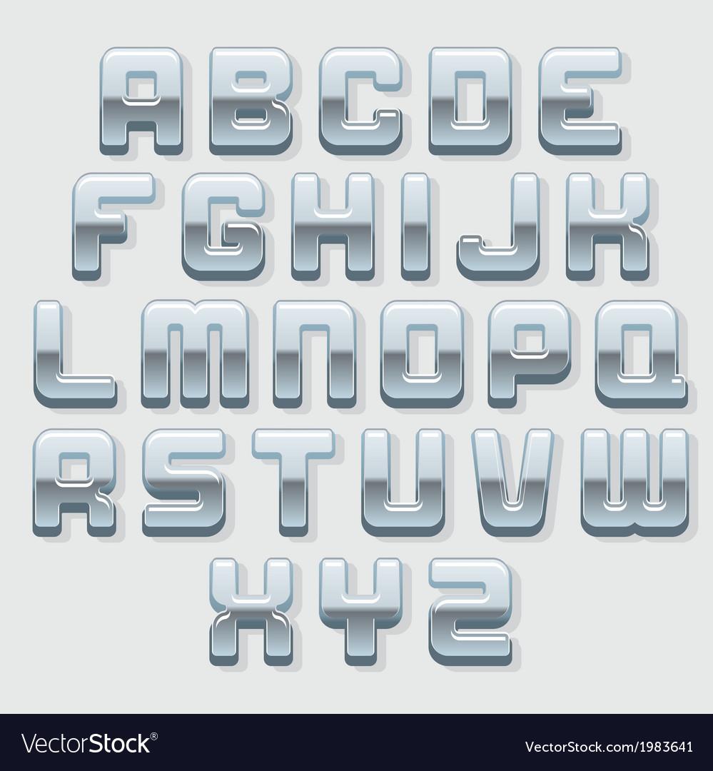 Chrome Metallic Font Set vector image