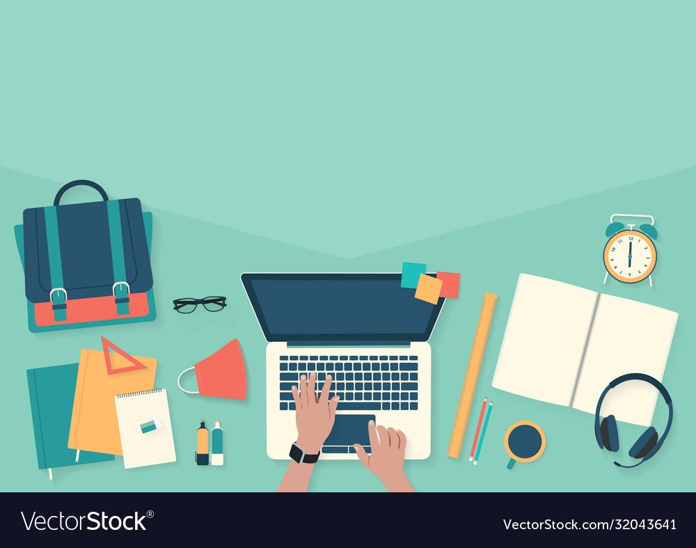 Do homework on desktop with laptop banner back to