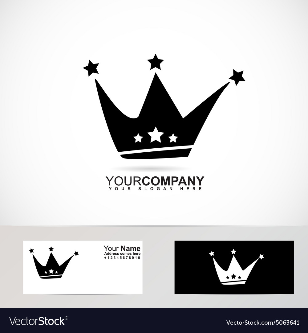 King crown logo black and white vector image