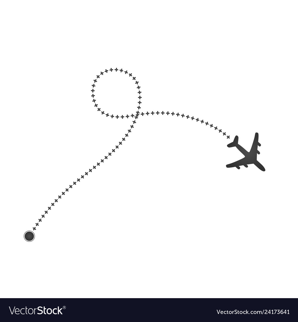 Plane and its cross track on white background