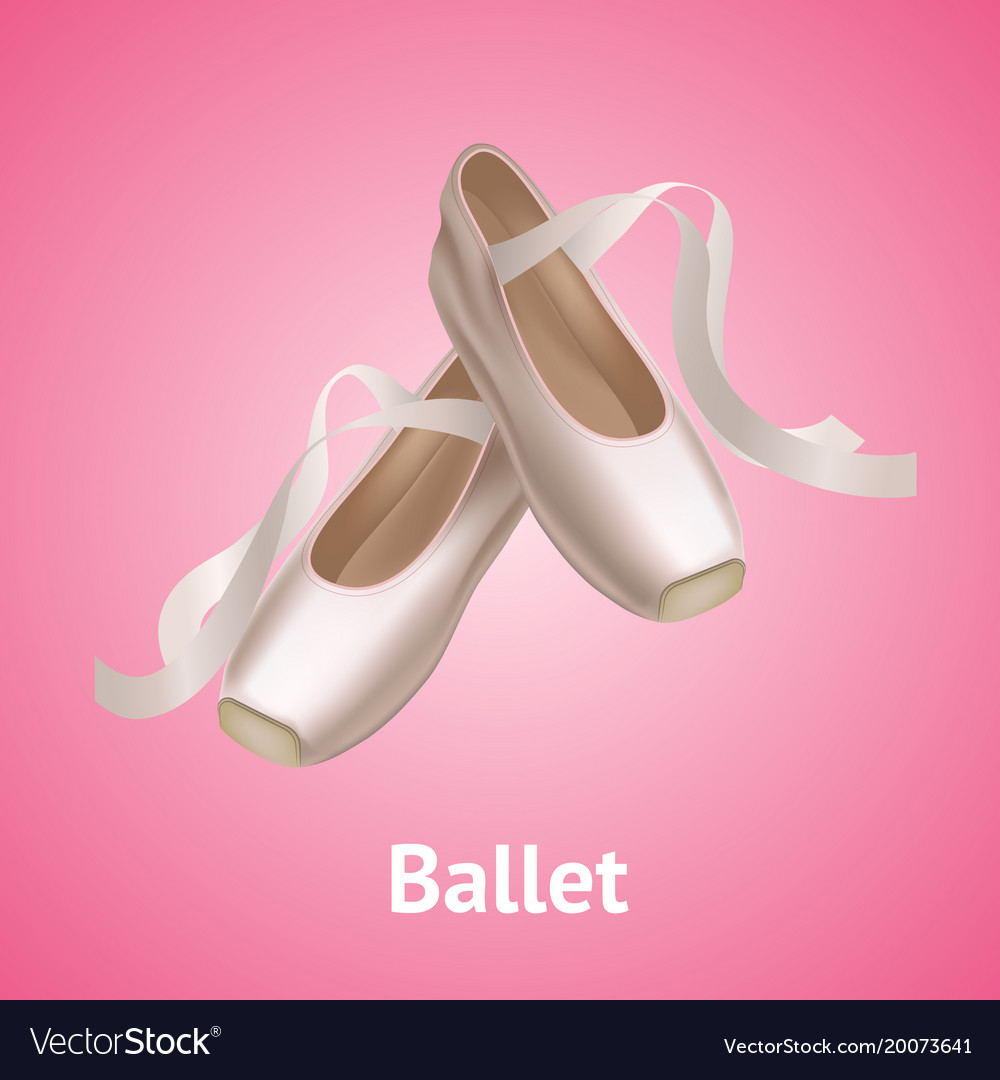 Realistic detailed ballet pointe shoes on a pink